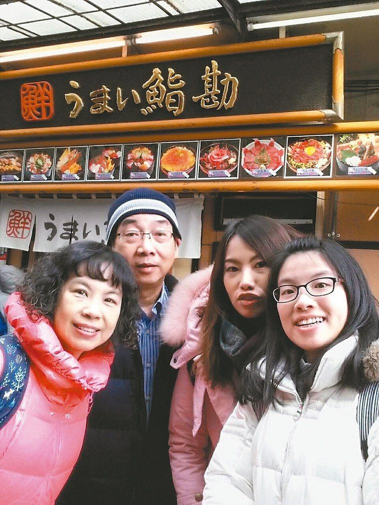 馬漢光(左二)和家人到日本旅遊。圖/馬漢光提供