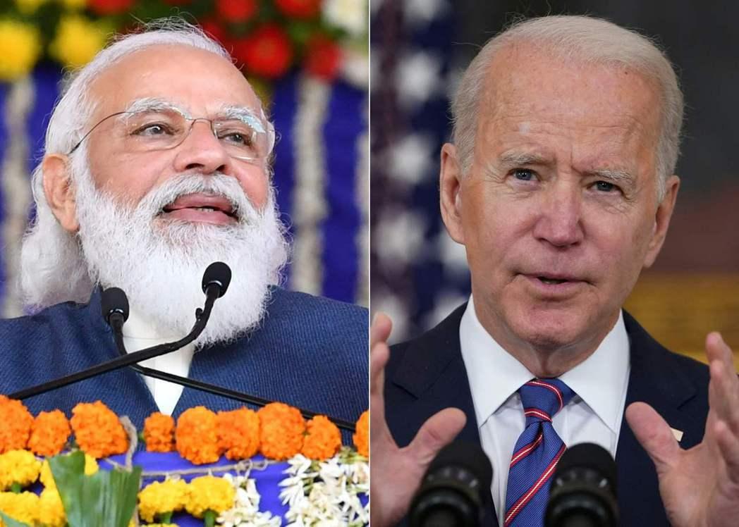 印度總理莫迪(左)出訪美國,於24日和美國總統拜登(右)會面前數小時,竟遭印度農...