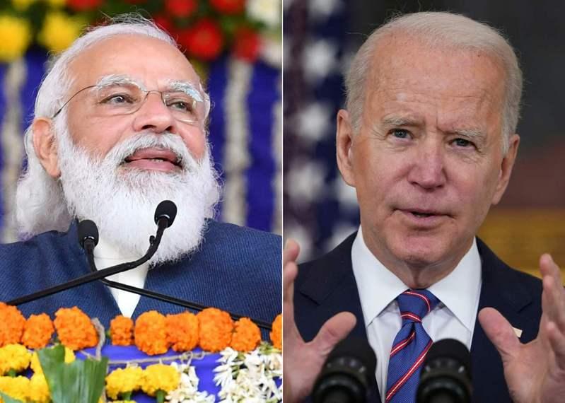 印度總理莫迪(左)出訪美國,於24日和美國總統拜登(右)會面前數小時,竟遭印度農民「告洋狀」。法新社