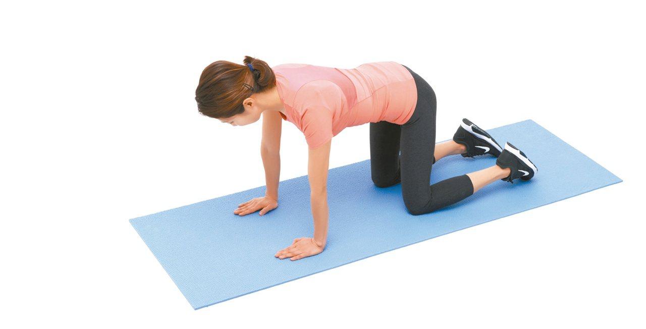 1.呈四足跪姿,雙膝打開與骨盆同寬,雙手打開與肩膀同寬。圖/聯經出版提供