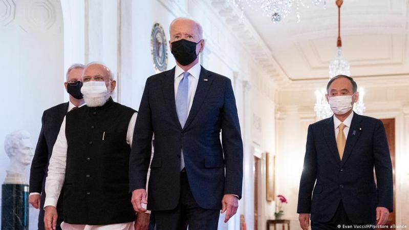 「四方安全對話」(Quad)此次在華盛頓舉行,東道主美國總統拜登與其他三國領導人進行會晤討論。圖/德國之聲中文網