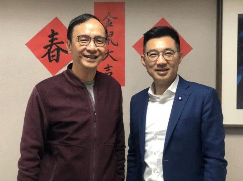 國民黨新任黨主席朱立倫與現任主席江啟臣。 圖/朱立倫辦公室提供