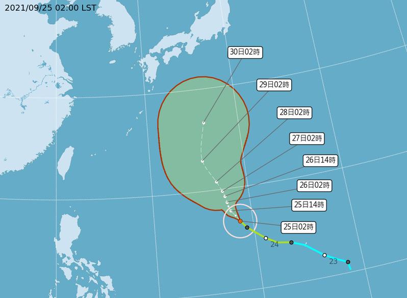 今晨2時中央氣象局路徑潛勢預測圖顯示,蒲公英颱風在關島西北方海面,向北北西前進。圖/取自中央氣象局網站