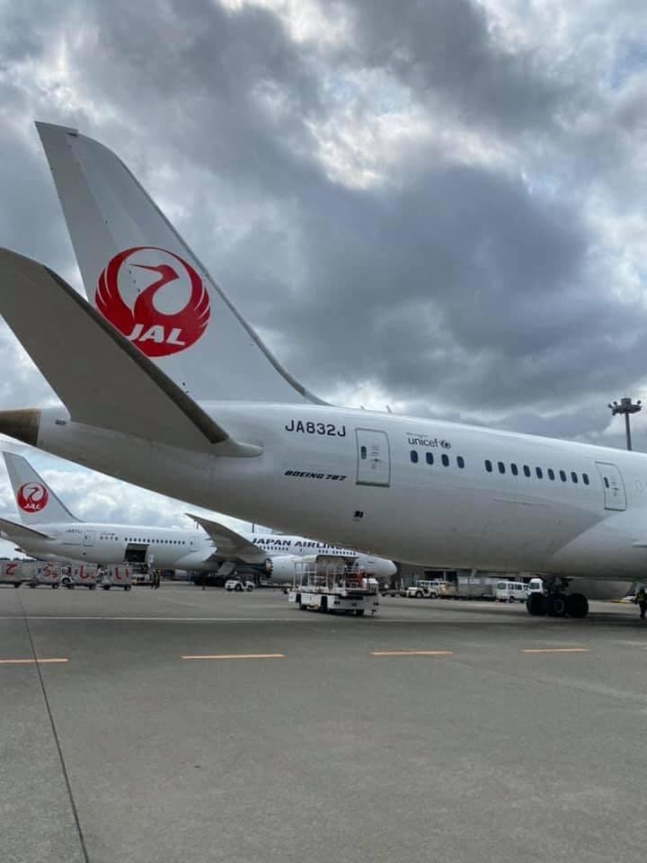 日本第五度捐助我國的50萬劑AZ疫苗稍早從日本成田機場起飛。圖/取自謝長廷臉書