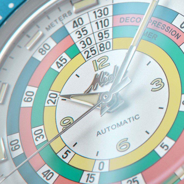 表款在面盤透過不同顏色、數字與內外圈的指示,提醒配戴者浮上水面時的安全的時間與對...