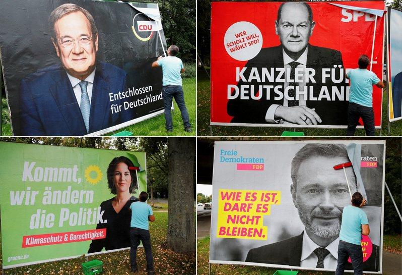 德國大選選後咸信將出現三黨聯合執政,就看兩大黨社民黨(右上)、基民/基社聯盟(左上)與自民黨(右下)與綠黨(左下)之間的合縱連橫。路透