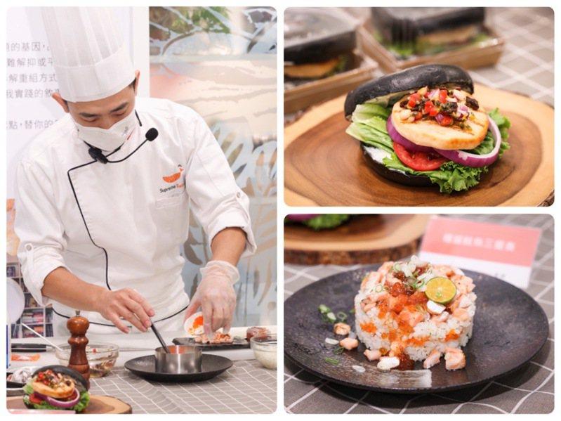 500案內所的「『美威鮭魚X好丘』:懶人料理廚藝教室」,由美威鮭魚研發主廚曾柏山帶領當日學員做懶人料理。記者王聰賢/攝影