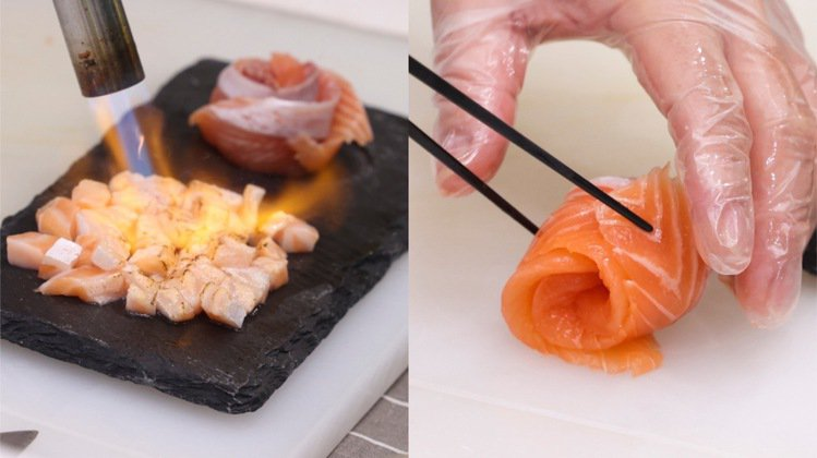 「極盛鮭魚三重奏」可以吃到鮭魚的炙燒、生魚片風味。記者王聰賢/攝影