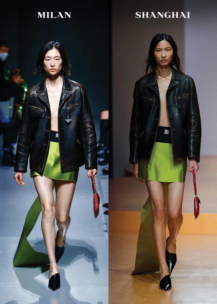 透過大方展現衣物下的真實肌膚與實相,PRADA 2022春夏女裝神奇調和了陽剛與...