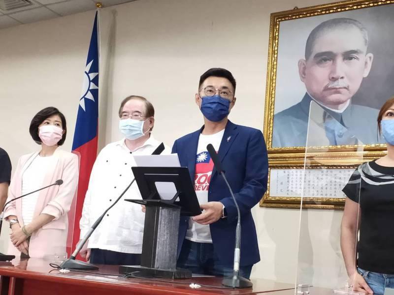 國民黨主席江啟臣將到國民黨中山廳宣布敗選,並發表談話。記者徐偉真/攝影