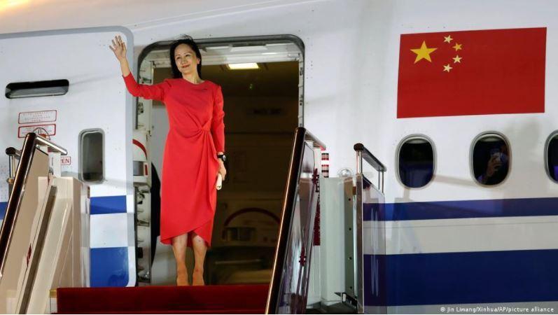 近三年來被軟禁在溫哥華住家中的華為首席財務官孟晚舟獲釋返回中國。 圖/德國之聲中文網