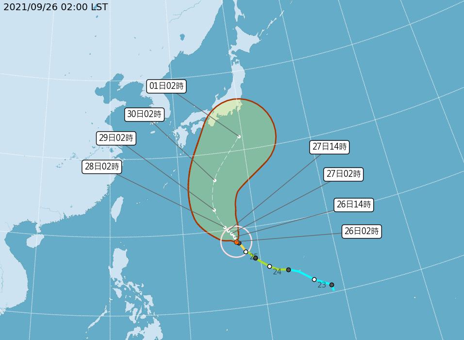 今年第16號颱風蒲公英,今天凌晨2時的中心位置在在關島西北西方990公里海面上(...