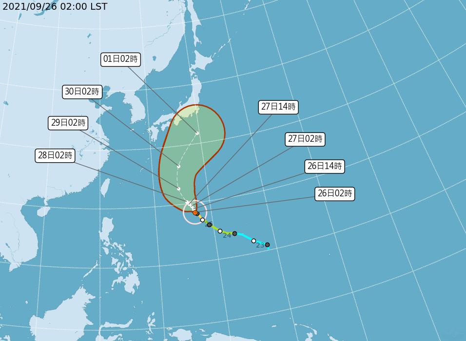蒲公英颱風路徑潛勢預報。圖/取自氣象局網站