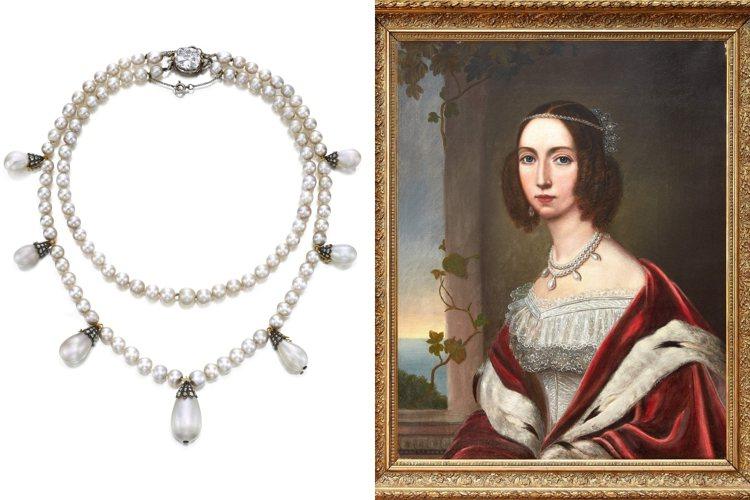 約瑟芬皇后舊藏珍珠鑽石項鍊將領銜蘇富比香港的10月12日「瑰麗珠寶」拍賣會。圖/...