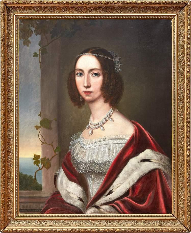 創作於19世紀的約瑟芬皇后的原作畫像將與項鍊一同上拍。圖/蘇富比提供