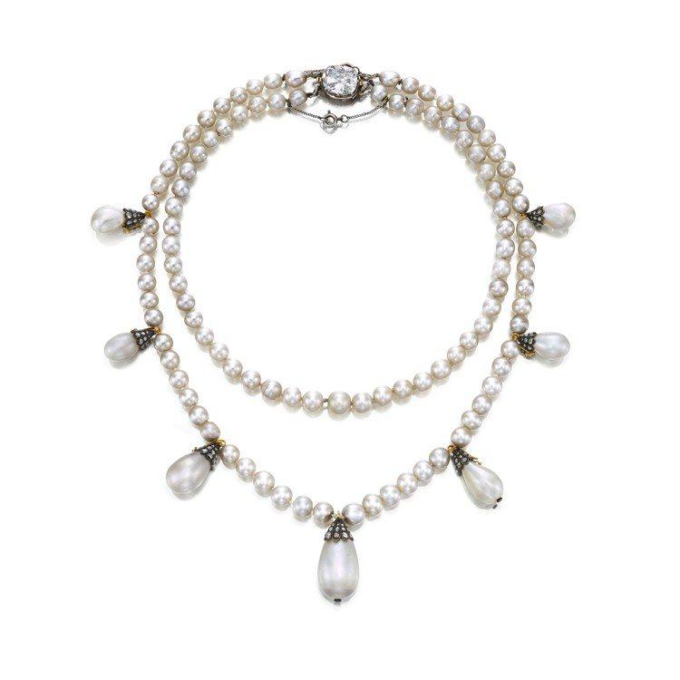約瑟芬皇后舊藏珍珠鑽石項鍊,估價待詢。圖/蘇富比提供