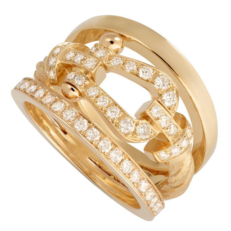 FRED Force 10系列高級珠寶黃K金鑽石戒指,25萬3,200元。圖/斐...