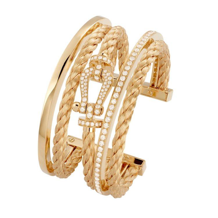 FRED Force 10系列高級珠寶黃K金三環手環,108萬2,400元。圖/...