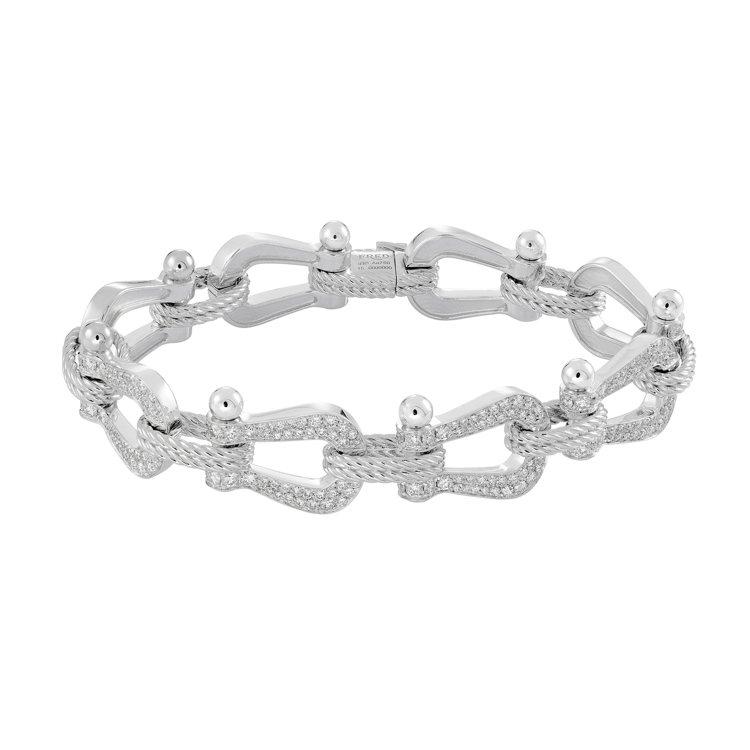 FRED Force 10系列多鍊釦白金鑽石鑲嵌手鍊,130萬9,900元。圖/...