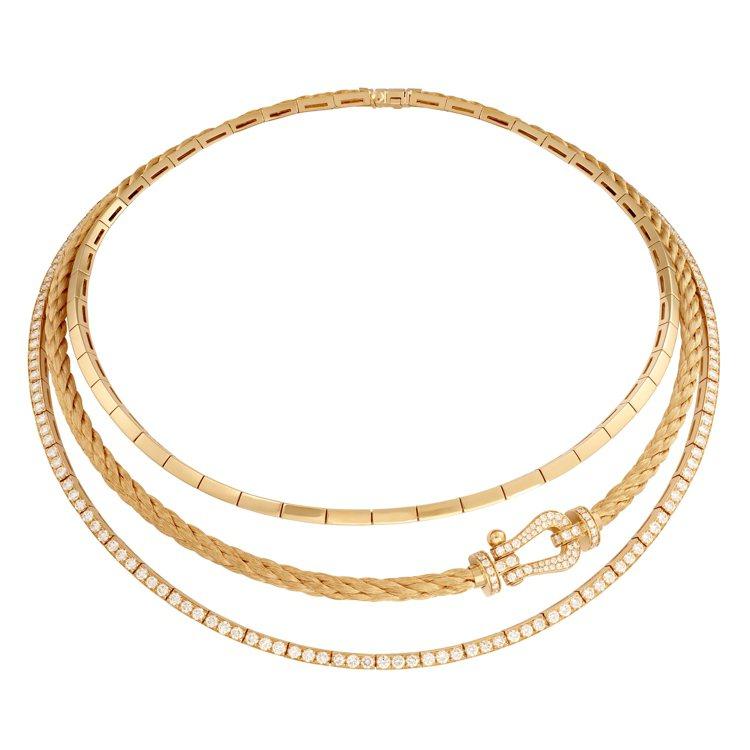 FRED Force 10系列黃K金鑽石項鍊,172萬9,600元。圖/斐登提供