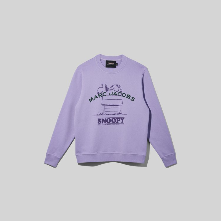 The peanuts丁香紫史努比圖案和標語棉質上衣,9,990元。圖/Marc...