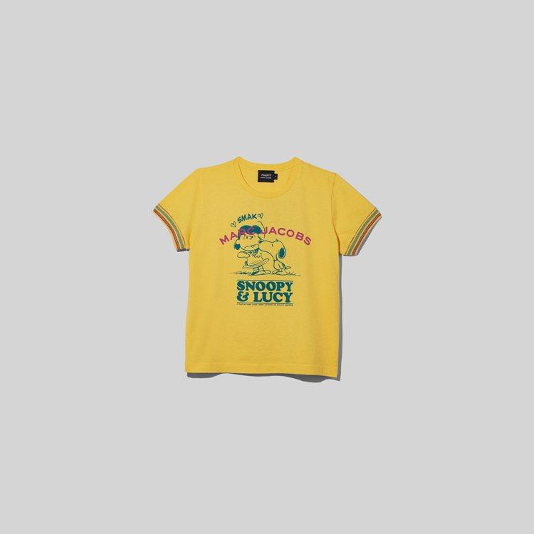 The peanuts陽光黃露西圖案和標語緄邊短袖T Shirt,4,490元。...