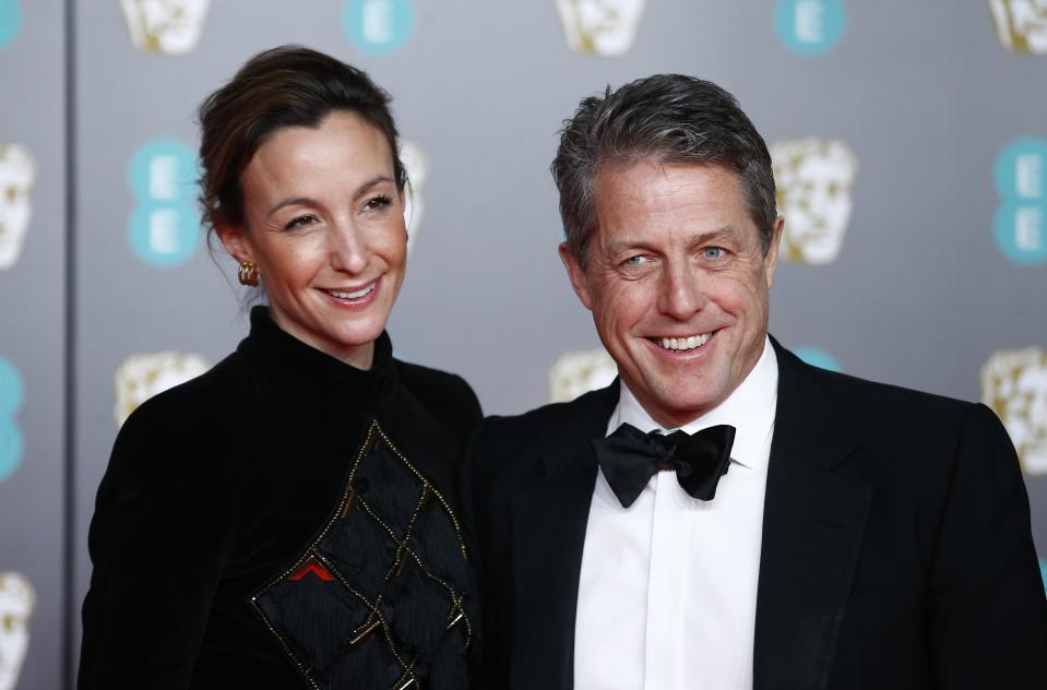 休葛蘭與妻子安娜艾伯斯坦一起出席頒獎典禮。(路透資料照片)