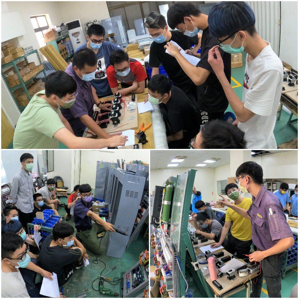 業師傳授配電盤、控制箱等教學。盛大企業∕提供