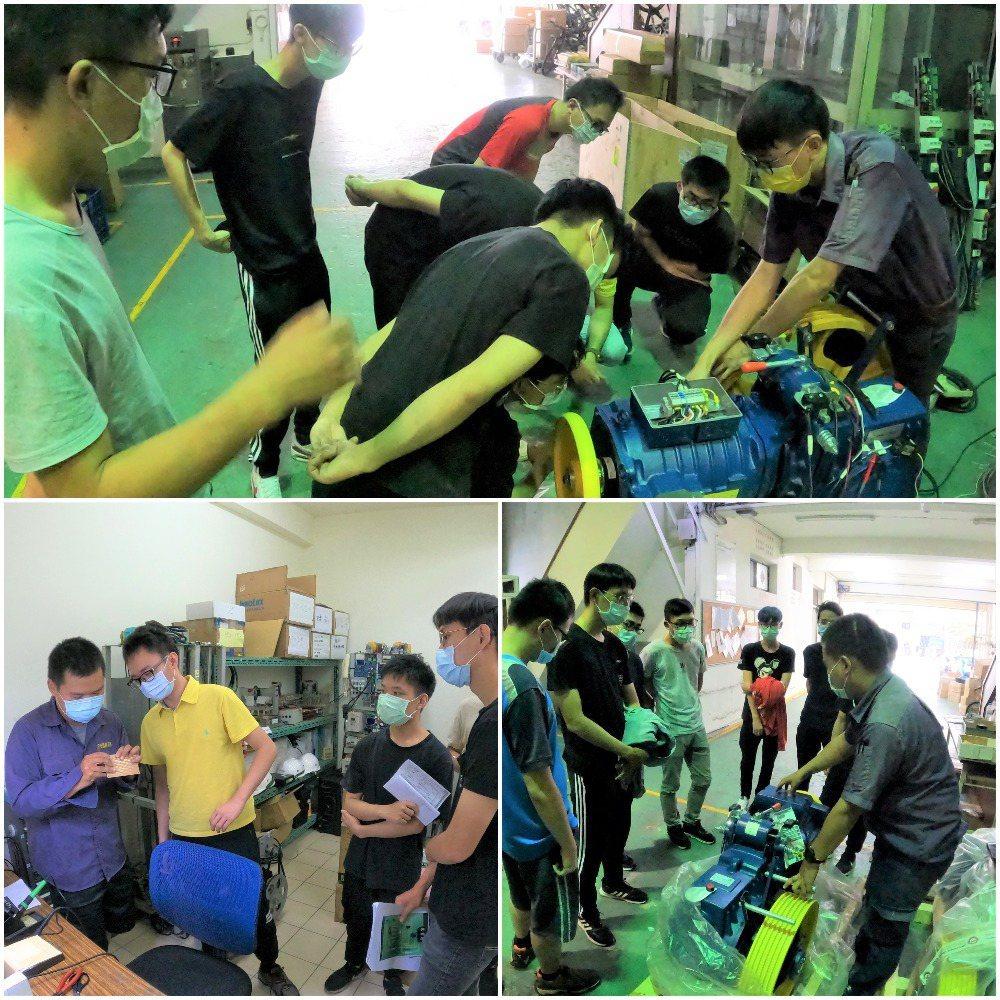 業師傳授馬達測試、電路板焊接、馬達認識等教學。盛大企業∕提供