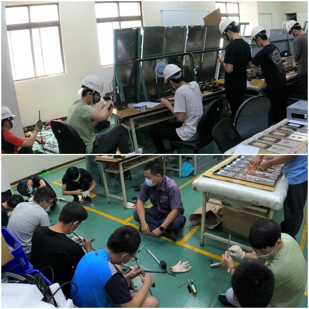 上圖:培訓學生們進行升降機裝修技能檢定之術科的模擬考試。下圖:鋼索教學與實作。盛...