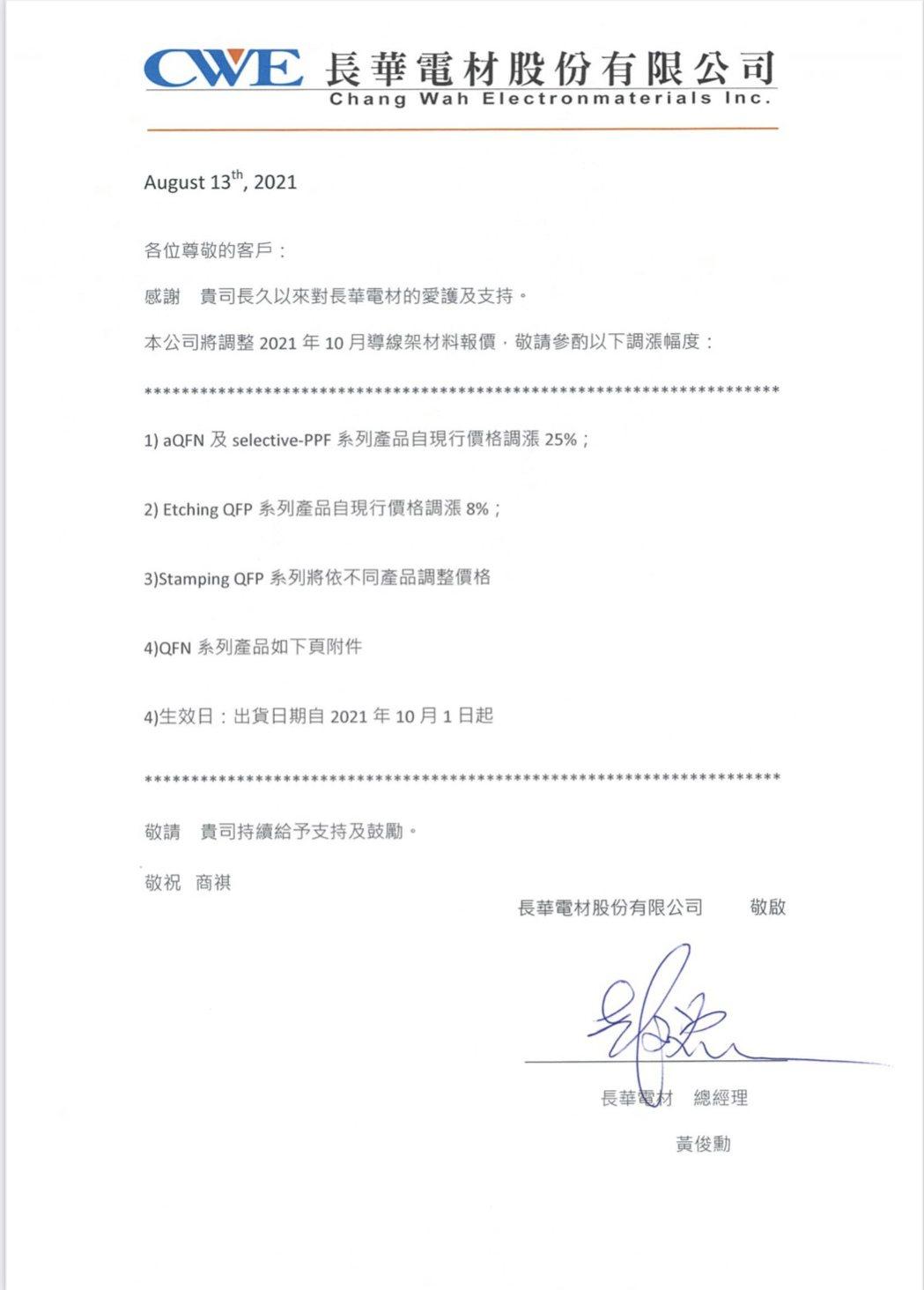 長華通知客戶10月1日再調漲各式導線架價格。圖/長華提供