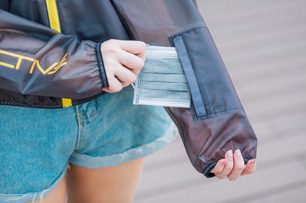 衣袖前端收納小袋可輕鬆收納隨身酒精噴瓶、口罩等防護用品。長榮航空提供