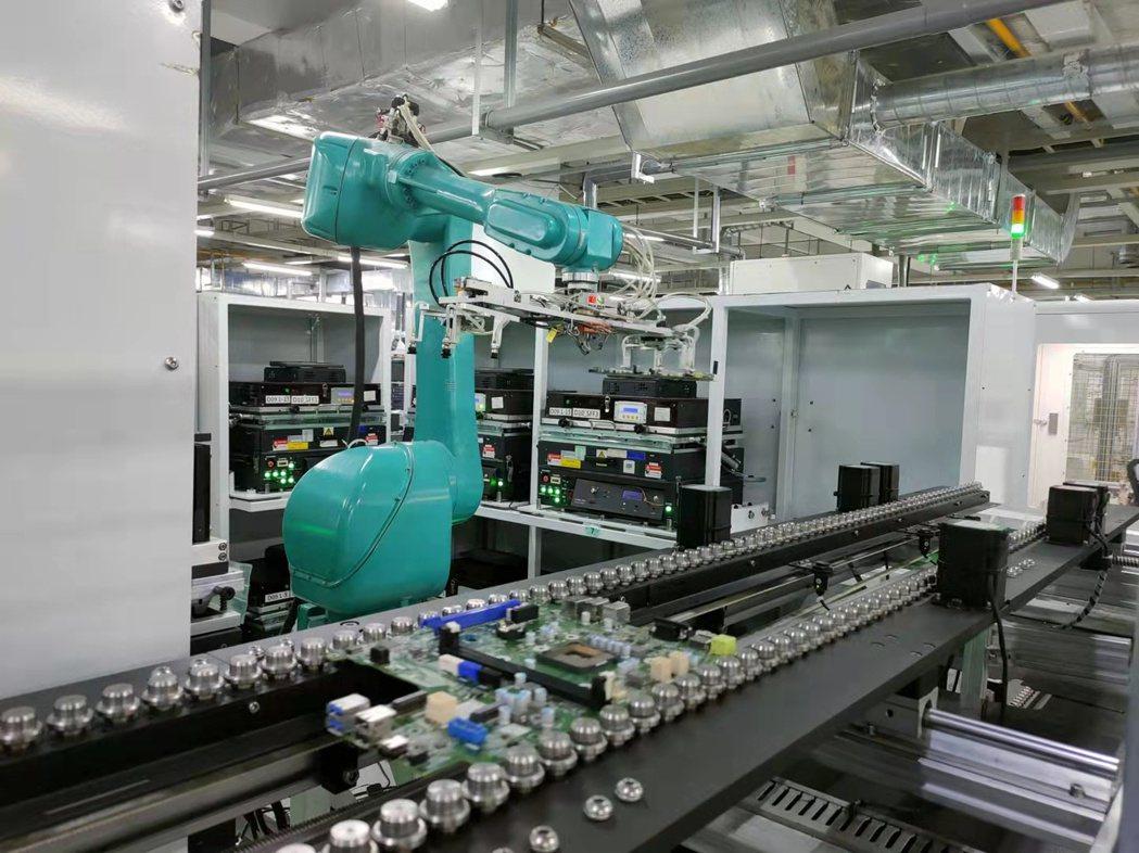鴻海武漢廠區,自主研發設計的敏捷、柔性自動化組裝測試線,實現測試無人化。鴻海/提...