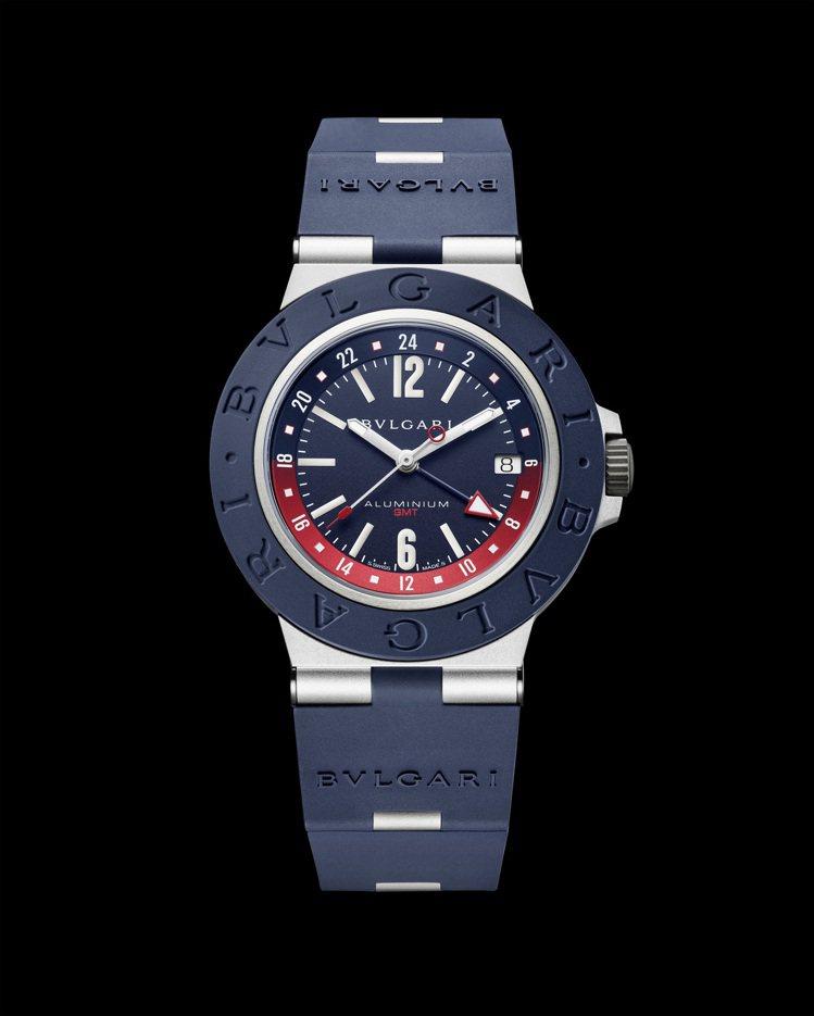 BVLGARI Aluminium GMT腕表,10萬8,600元。圖/寶格麗提...