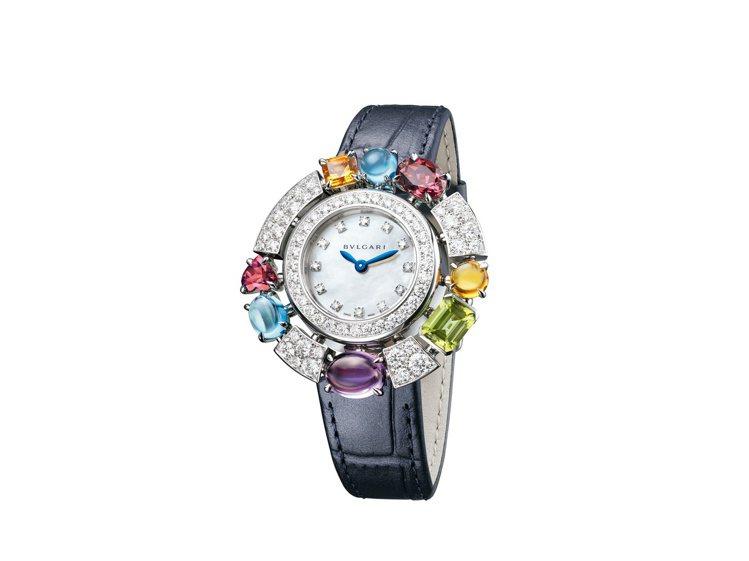 ALLEGRA系列白K金彩寶腕表,約95萬6,000元。圖/寶格麗提供