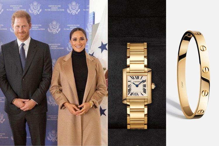 梅根從不離手的卡地亞黃K金坦克腕表,被認為是來自黛妃的珍藏。圖/摘自IG、卡地亞...