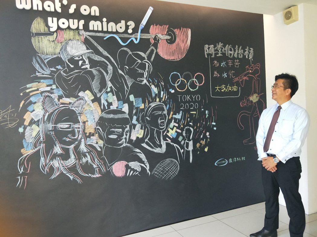 公司設置的名人牆,溫馨感性,甚受員工喜愛。 康淳科技/提供