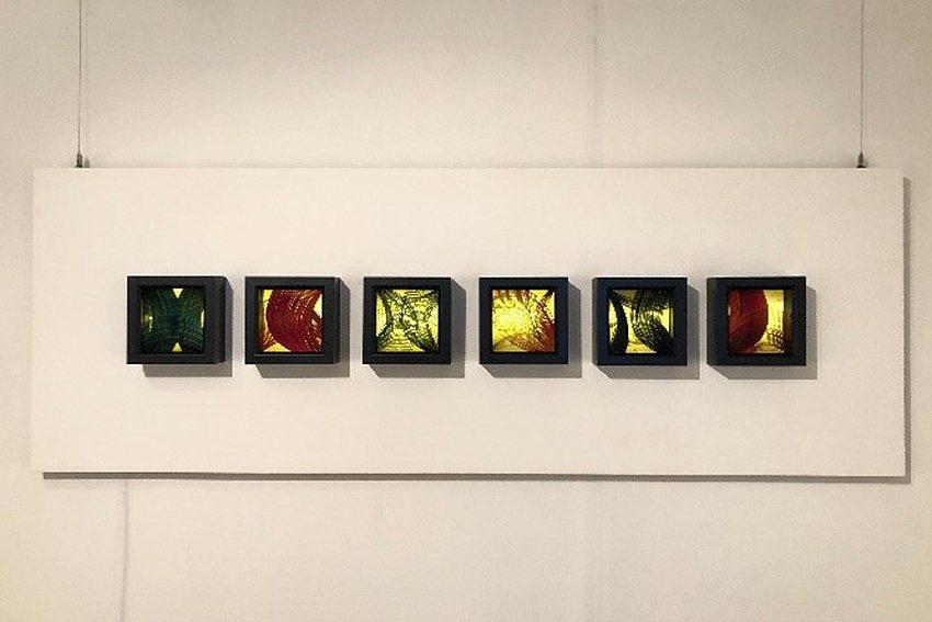 謝佳珍作品「竹影Ⅱ」呈現竹篾彎曲的自然曲線。 中原大學/提供