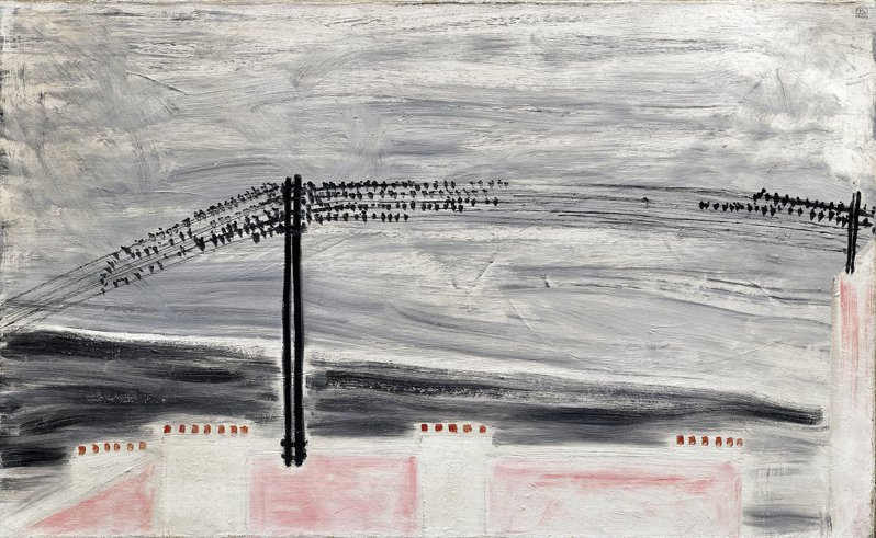 常玉街景畫「電線上的麻雀」。圖/富藝斯提供