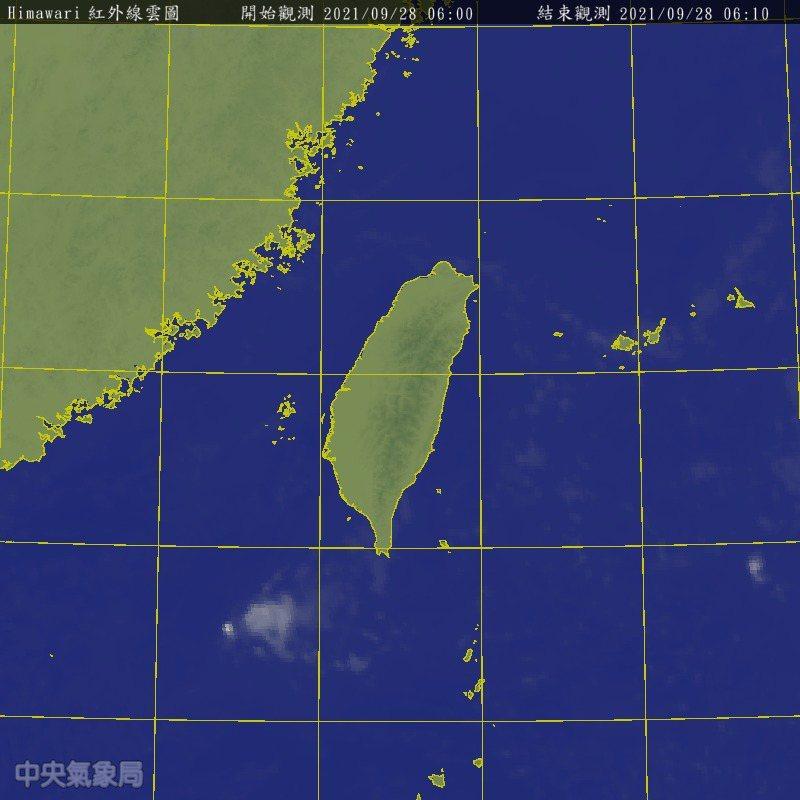 今天上午6時衛星雲圖。圖/氣象局