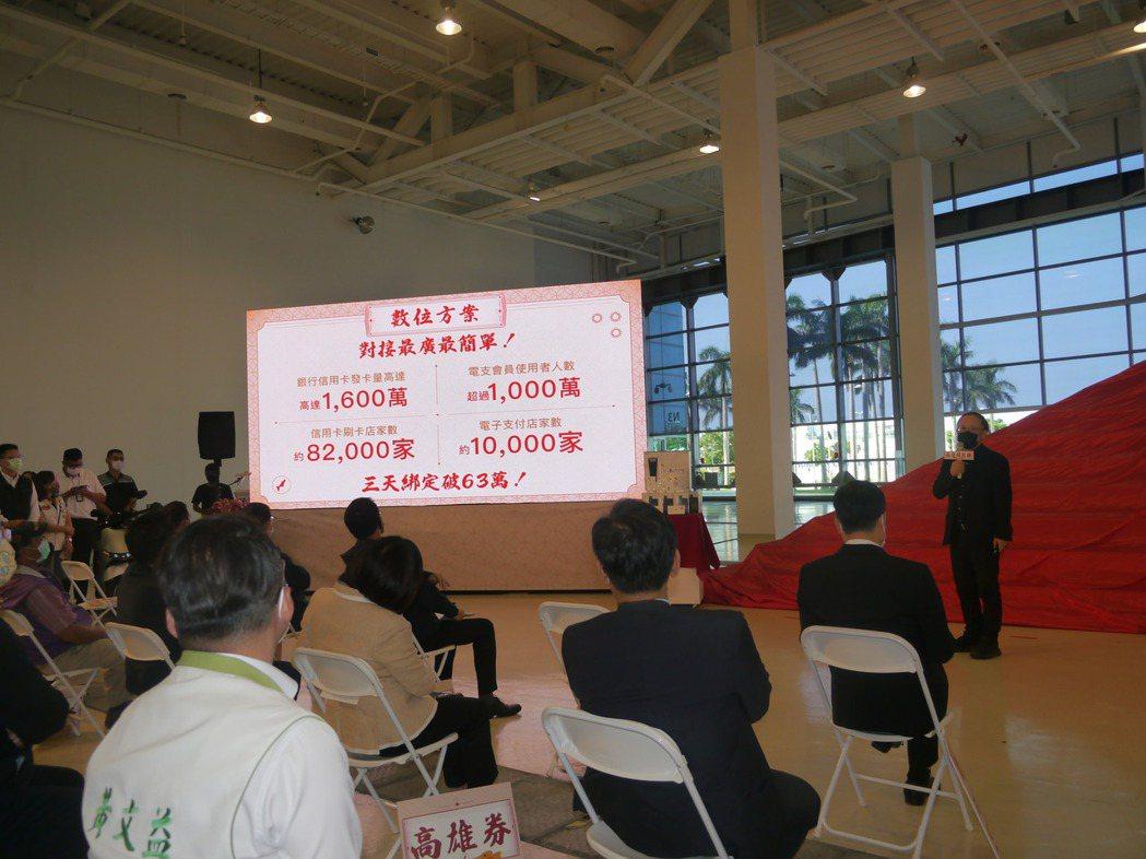 高市府推出高雄券加碼優惠活動,今早在高雄展覽館舉辦紙本方案公布記者會,副市長史哲...