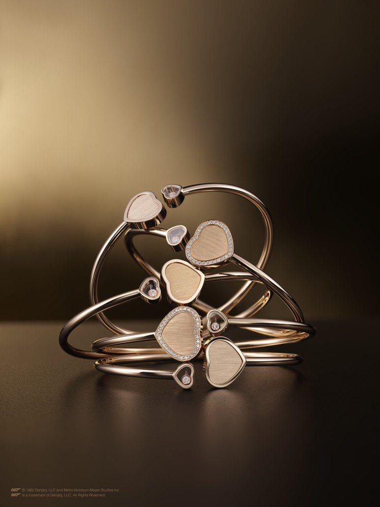 Golden Hearts心型手環,18K玫瑰金心型手環與1顆滑動鑽石,10萬8...