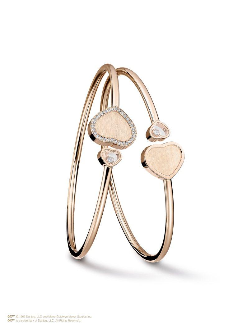 (由左到右)Golden Hearts心型鑲鑽手環,18K玫瑰金心型手環鑲嵌璀璨...