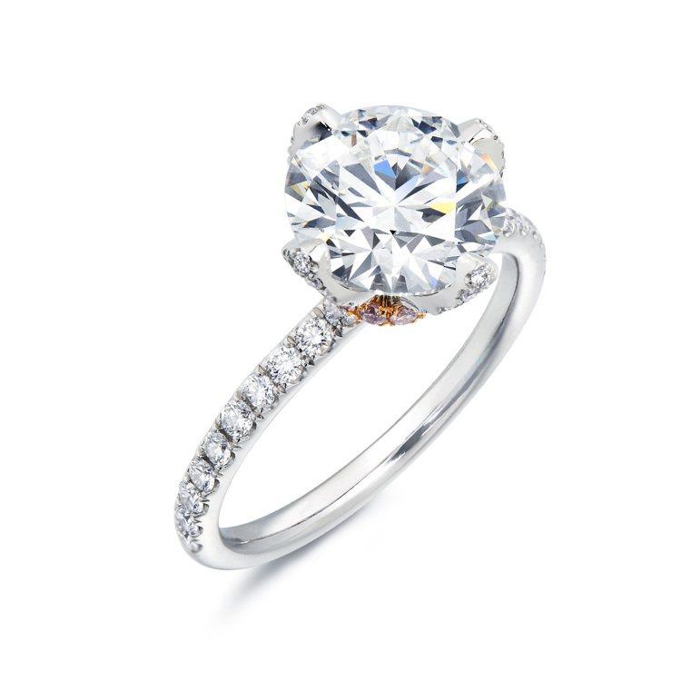 點睛品nfini Love Diamond粉紅點綴18K白金及900鉑金鑽石戒指...