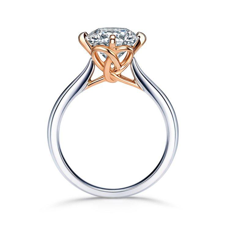 點睛品 PROMESSA 同心結18K白金玫瑰金雙色鑽石戒指,以Inifini ...