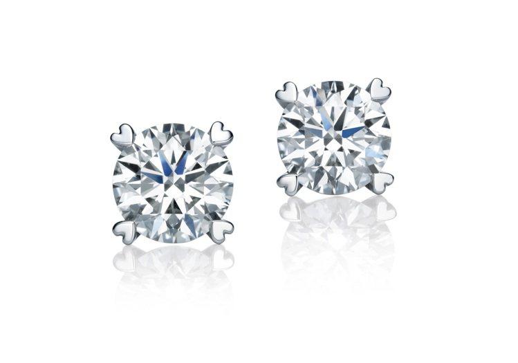 點睛品Infini Love Diamond經典900鉑金鑽石耳環主石50分,2...