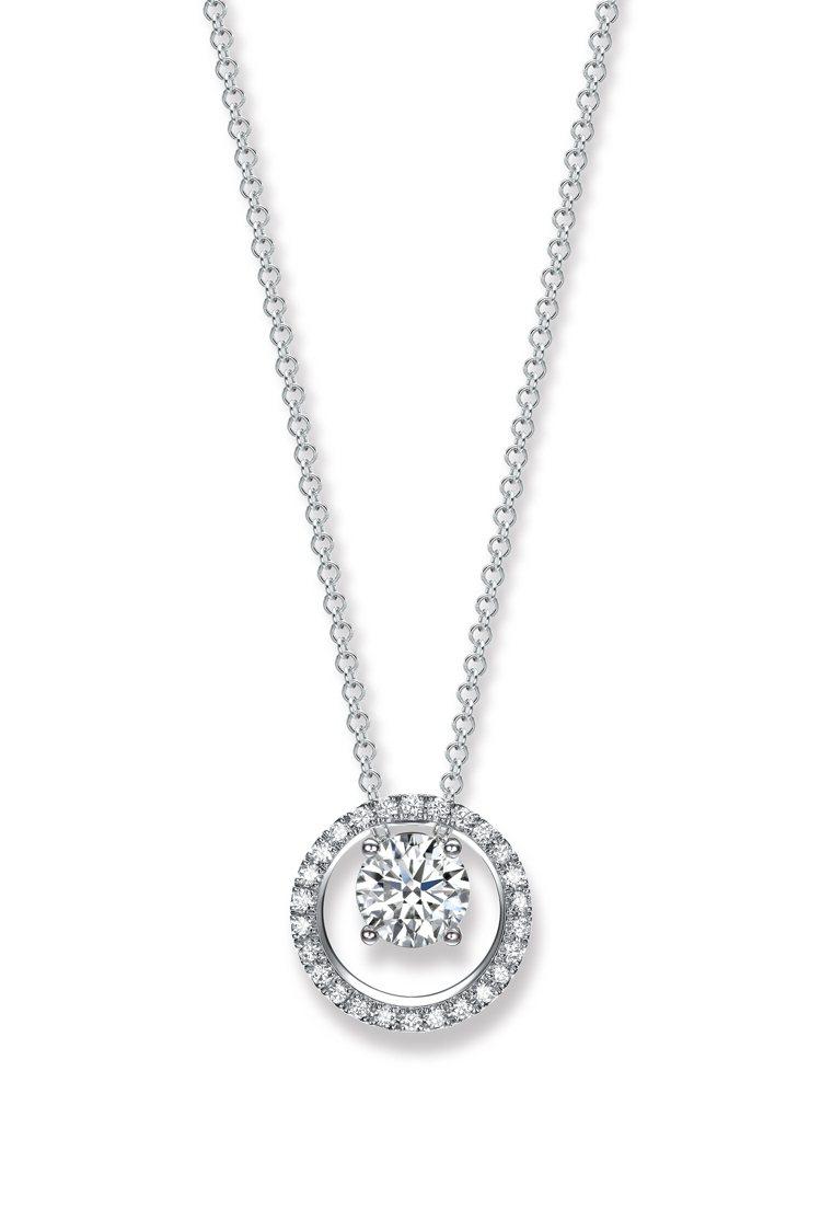 點睛品 Infini Love Diamond光環18K白金鑽石頸鍊,主石30分...