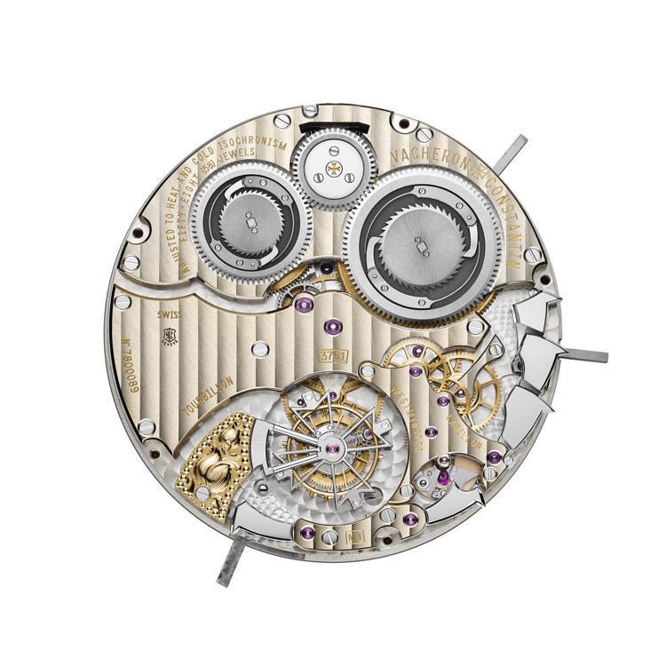 806個零件、58顆人工寶石軸承的3761手上鍊機芯具備雙發條盒,讓報時機制與時...