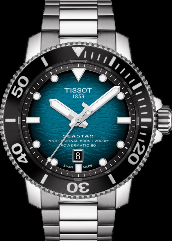 天梭表Searstar 2000海星系列腕表,精鋼表殼、表鍊,搭配陶瓷表圈,約3...