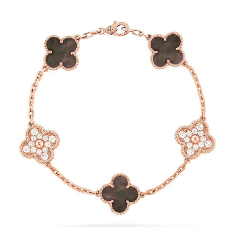 Vintage Alhambra手鍊5枚墜飾,玫瑰金鑲嵌灰色珍珠母貝、鑽石,約3...